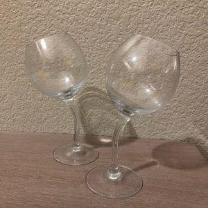 Fun Tipsy Wine Glasses! Set of 2